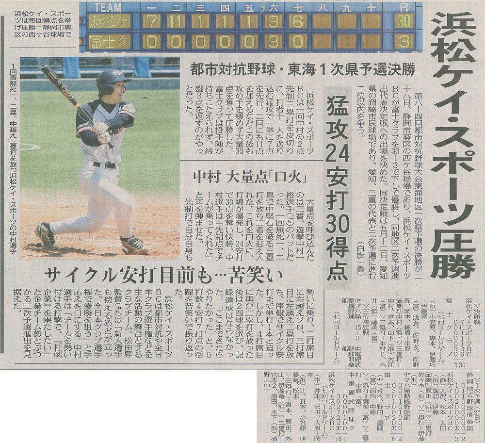 第84回都市対抗野球大会東海地区1次県予選