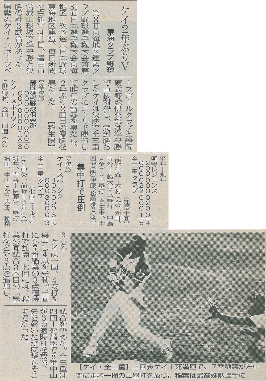 第8回東海地区連盟クラブ野球選手権兼第31回日本選手権東海地区1次予選