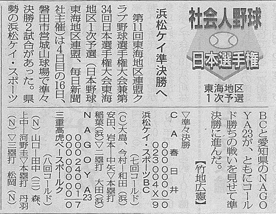 第11回東海地区連盟クラブ野球選手権大会兼第34回日本選手権大会東海地区1次予選