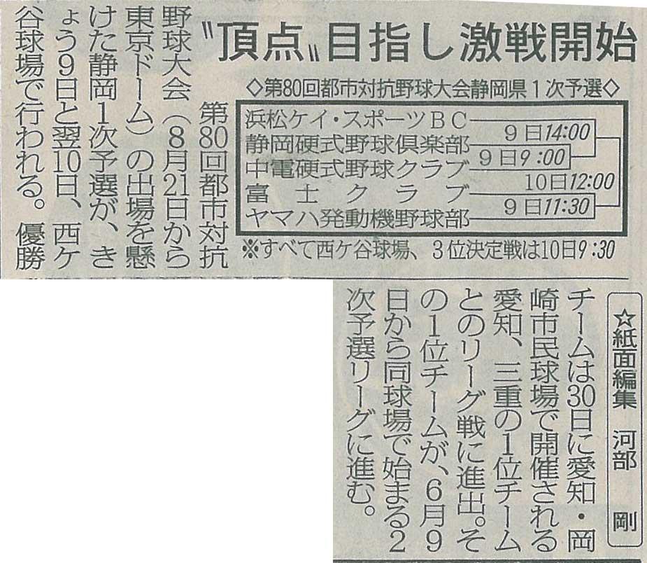 第80回都市対抗野球大会静岡県1次予選