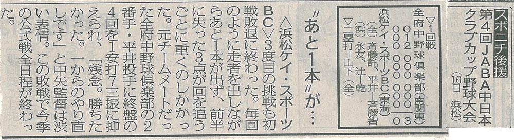 第4回JABA中日本クラブカップ野球大会