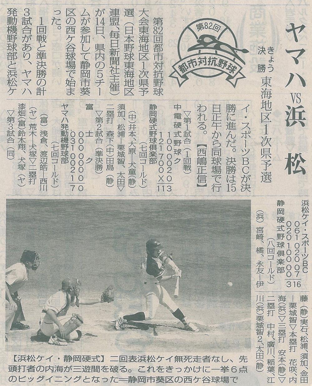 第82回都市対抗野球大会東海地区1次県予選