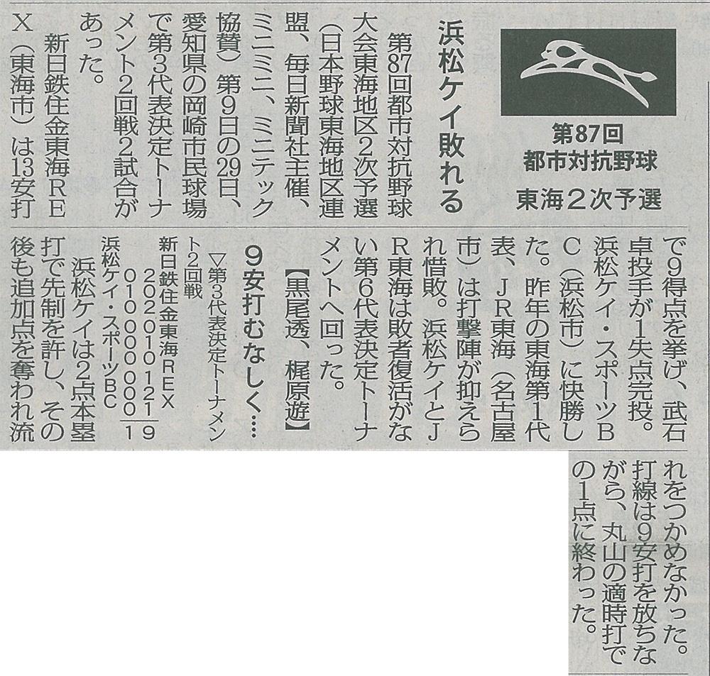 浜松ケイ・スポーツBC対新日鐵住金東海REX